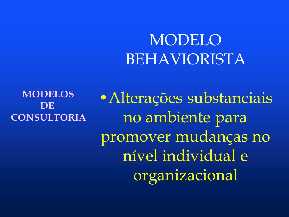 MODELO BEHAVIORISTA. Alterações substanciais no ambiente para promover mudanças no nível individual e organizacional.