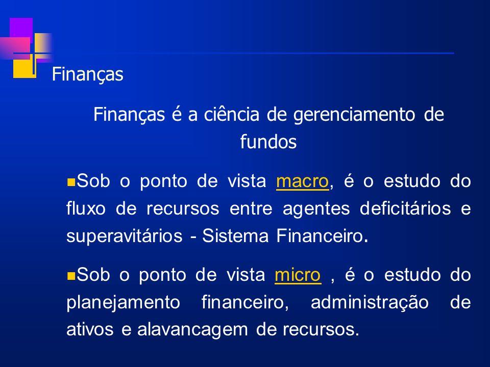 Finanças é a ciência de gerenciamento de fundos