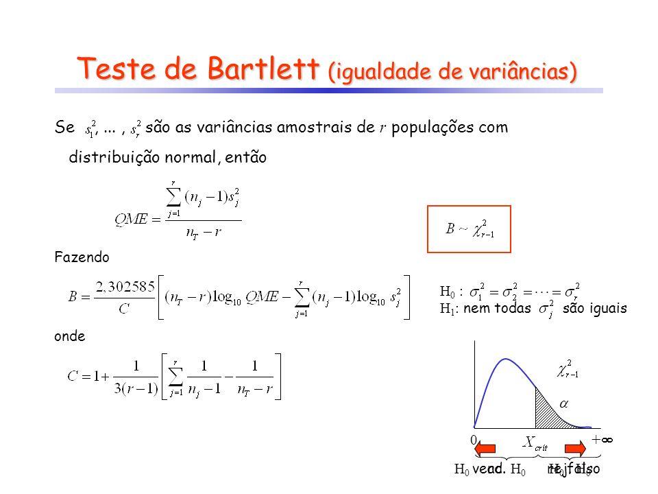 Teste de Bartlett (igualdade de variâncias)