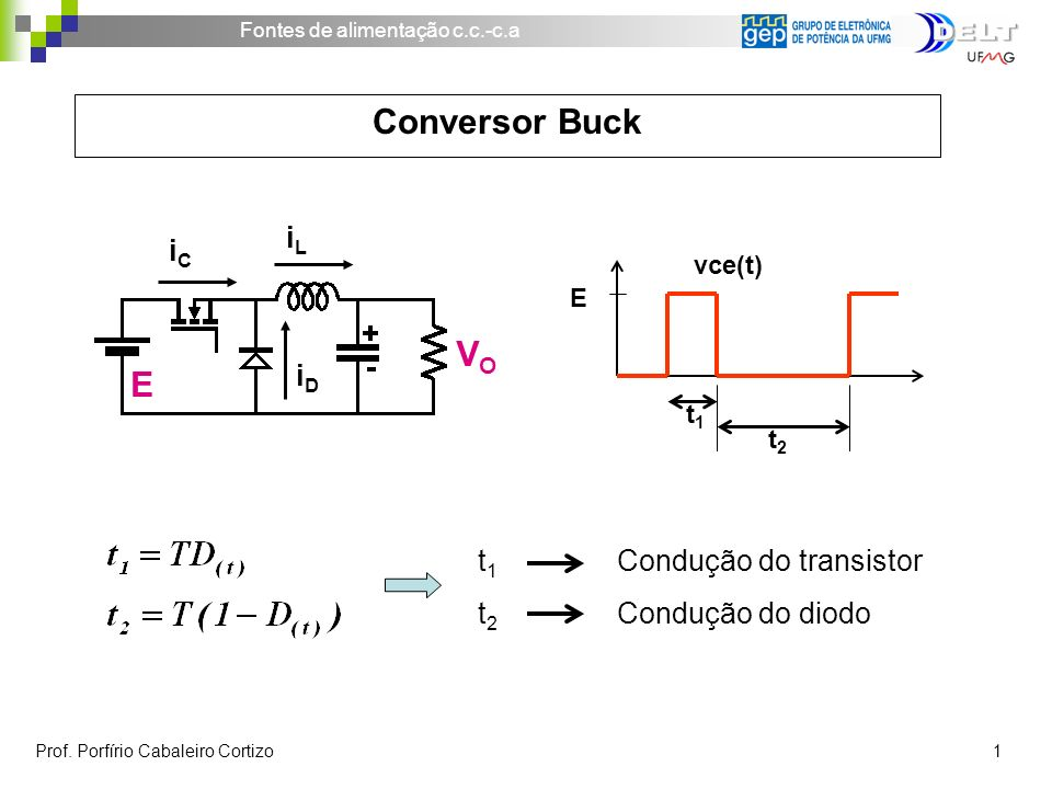Conversor Buck VO iL iC iD t1 Condução do transistor