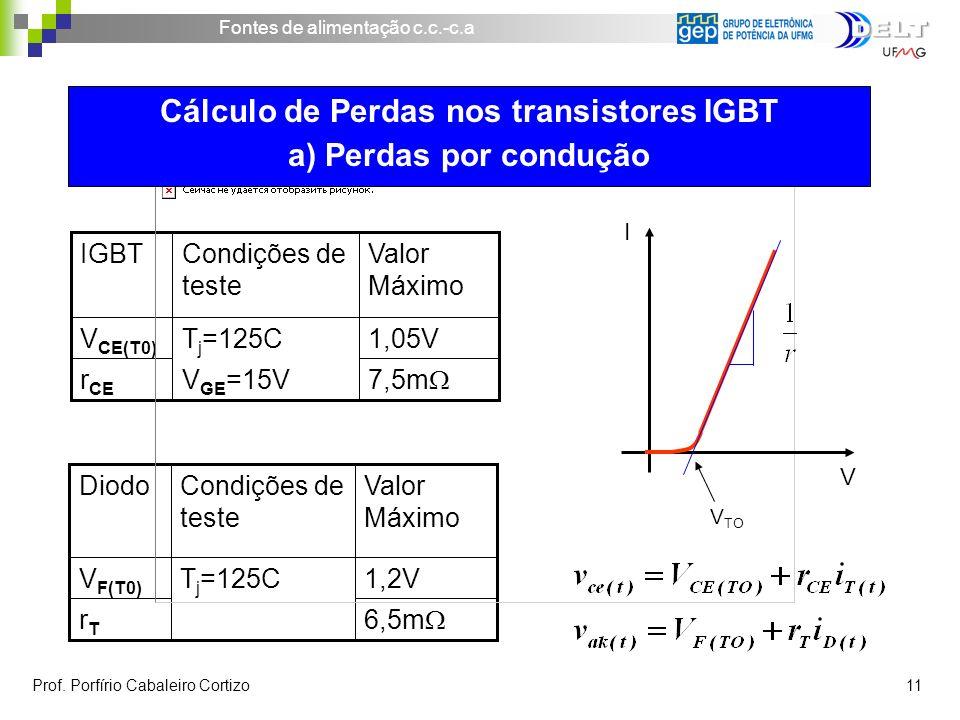 Cálculo de Perdas nos transistores IGBT a) Perdas por condução