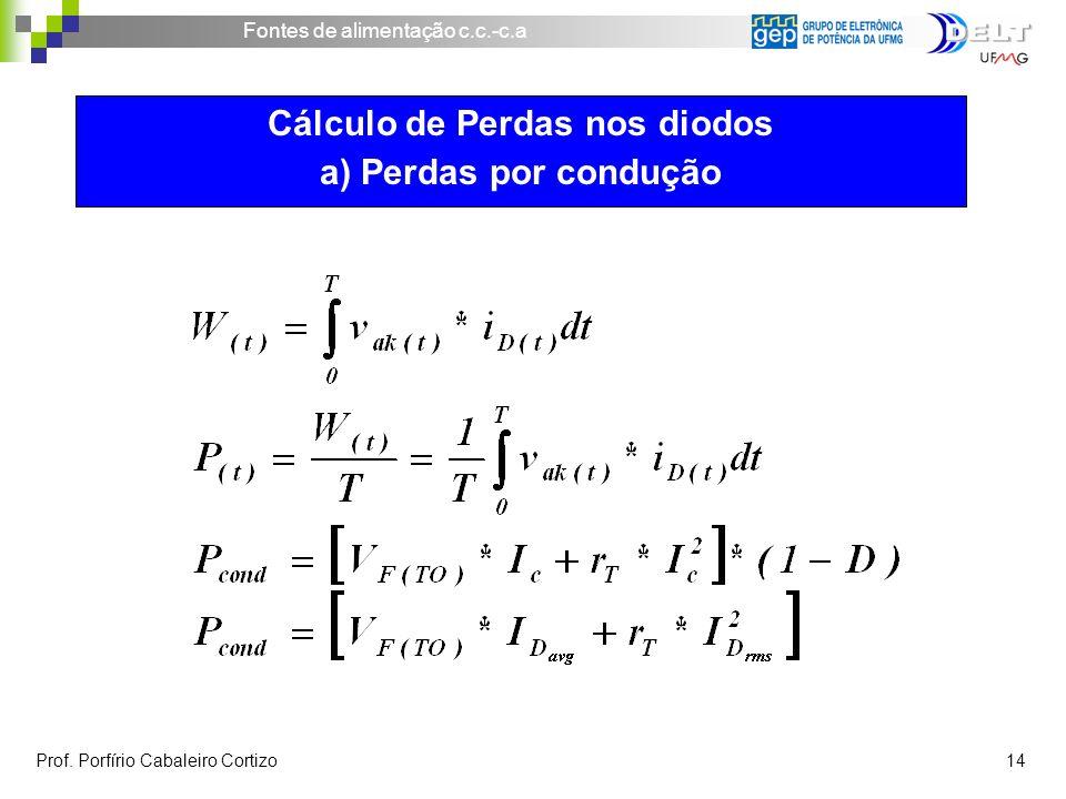 Cálculo de Perdas nos diodos a) Perdas por condução