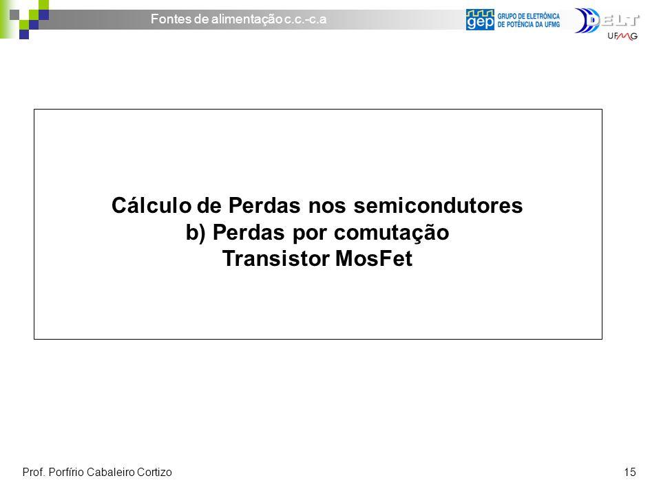 Cálculo de Perdas nos semicondutores b) Perdas por comutação Transistor MosFet