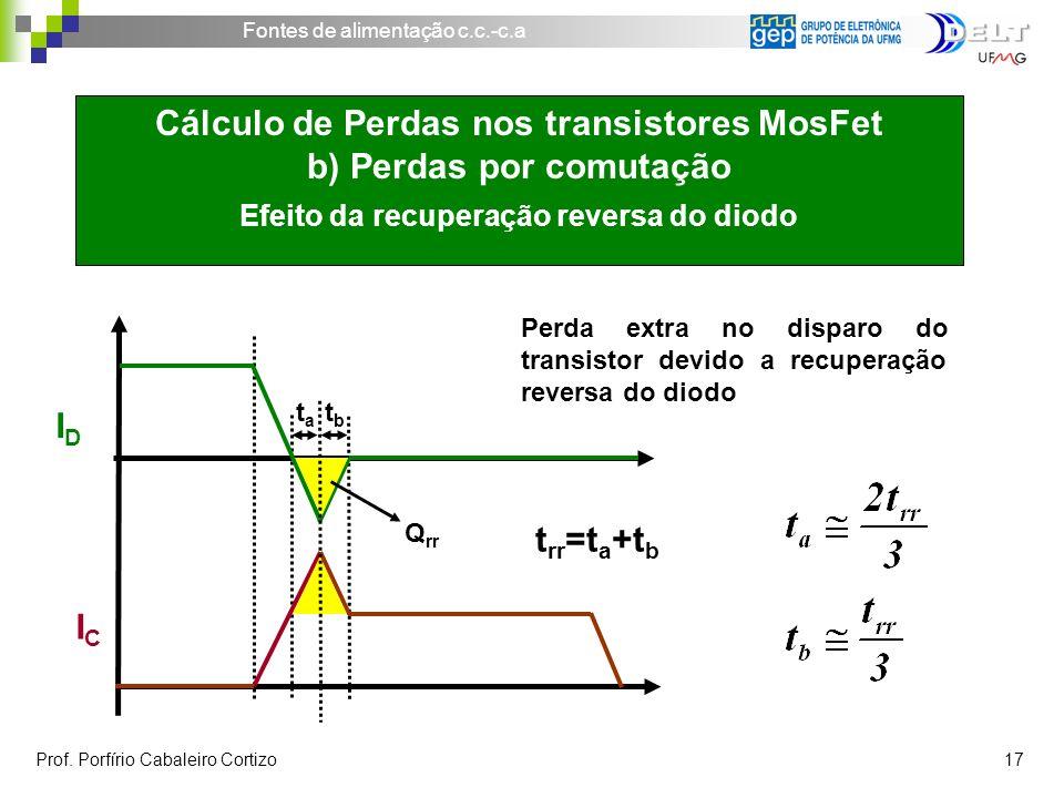 ID IC. ta. Cálculo de Perdas nos transistores MosFet b) Perdas por comutação Efeito da recuperação reversa do diodo.