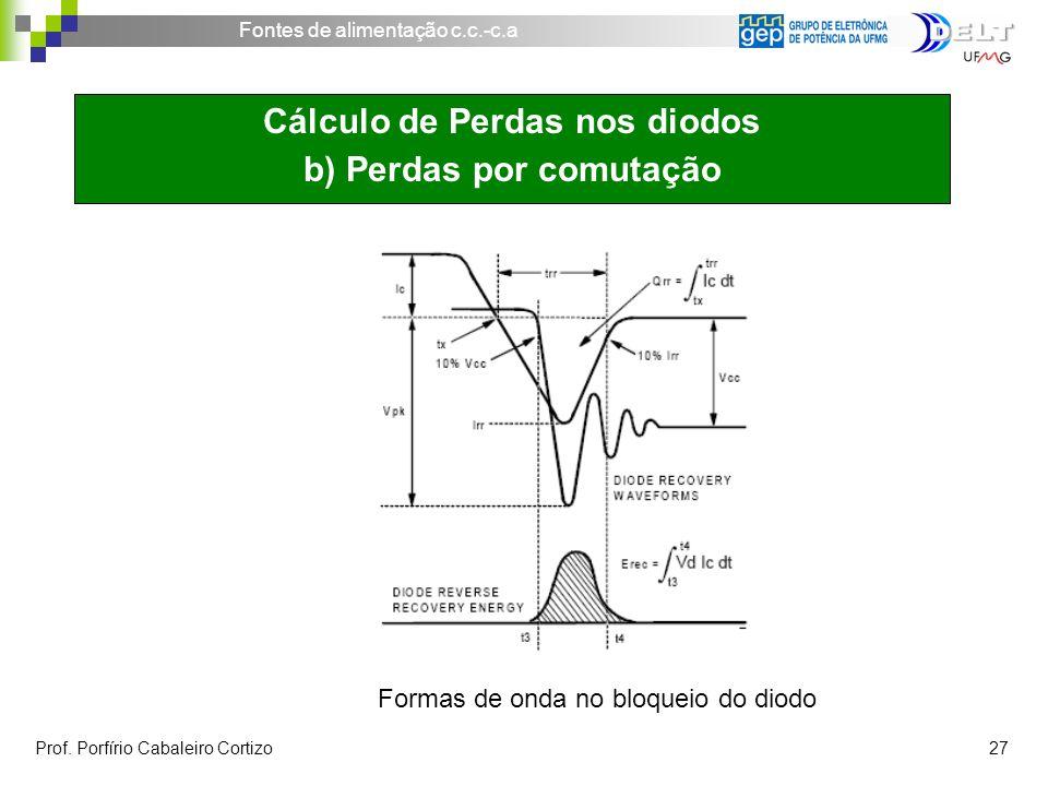 Cálculo de Perdas nos diodos b) Perdas por comutação