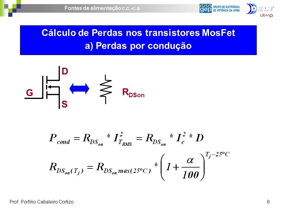 Cálculo de Perdas nos transistores MosFet a) Perdas por condução