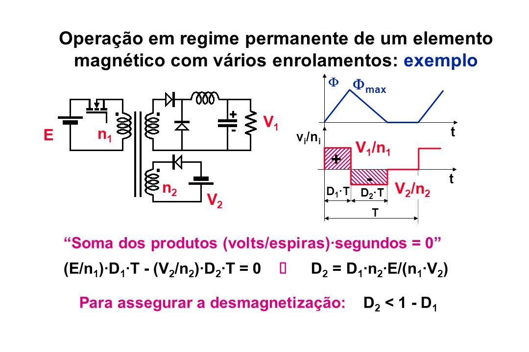 Operação em regime permanente de um elemento magnético com vários enrolamentos: exemplo