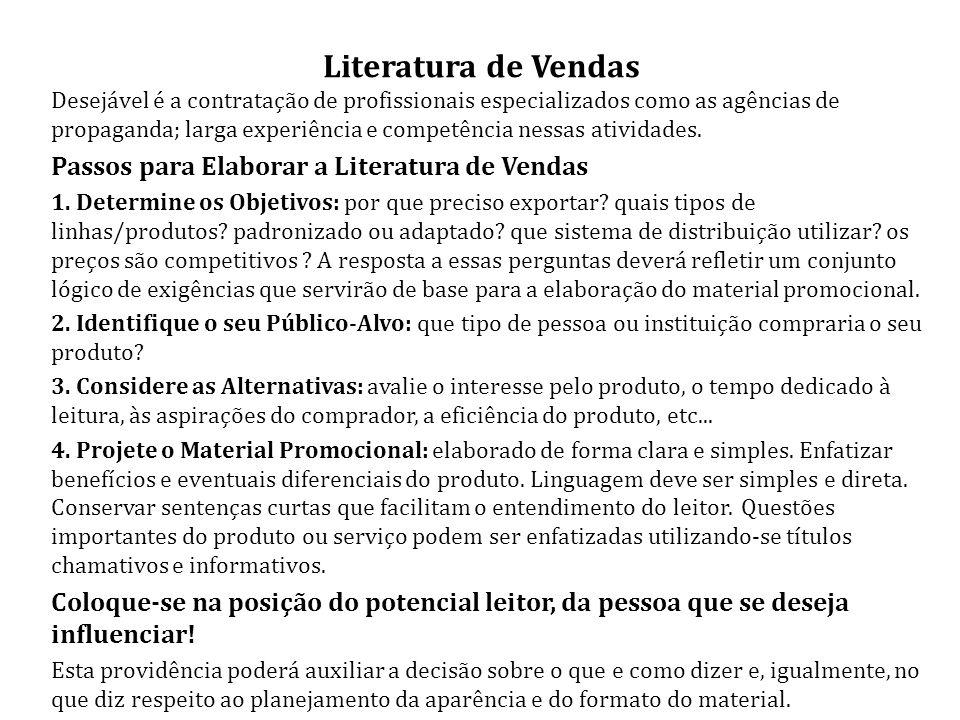 Literatura de Vendas Passos para Elaborar a Literatura de Vendas