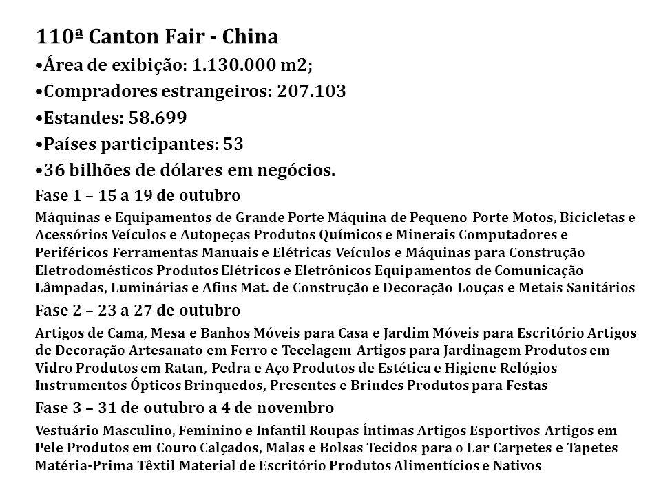 110ª Canton Fair - China •Área de exibição: 1.130.000 m2;