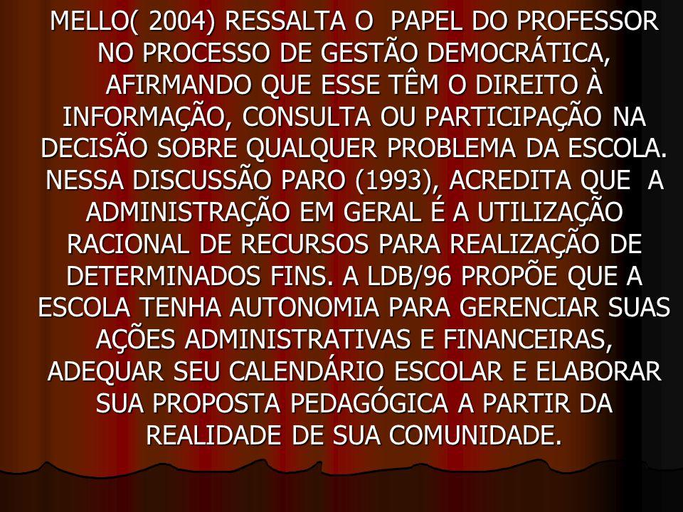 MELLO( 2004) RESSALTA O PAPEL DO PROFESSOR NO PROCESSO DE GESTÃO DEMOCRÁTICA, AFIRMANDO QUE ESSE TÊM O DIREITO À INFORMAÇÃO, CONSULTA OU PARTICIPAÇÃO NA DECISÃO SOBRE QUALQUER PROBLEMA DA ESCOLA.