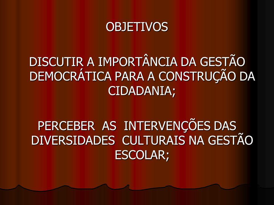 PERCEBER AS INTERVENÇÕES DAS DIVERSIDADES CULTURAIS NA GESTÃO ESCOLAR;