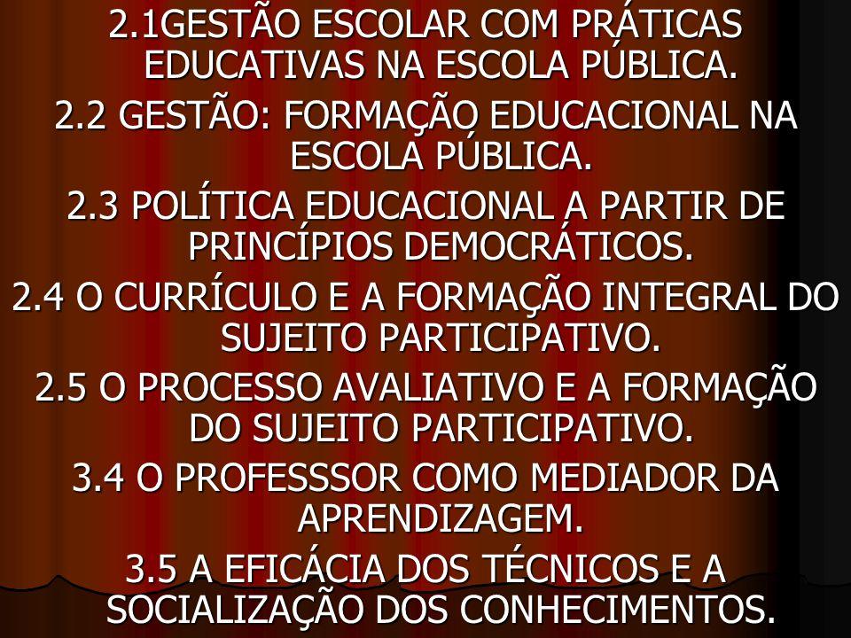 2.1GESTÃO ESCOLAR COM PRÁTICAS EDUCATIVAS NA ESCOLA PÚBLICA.