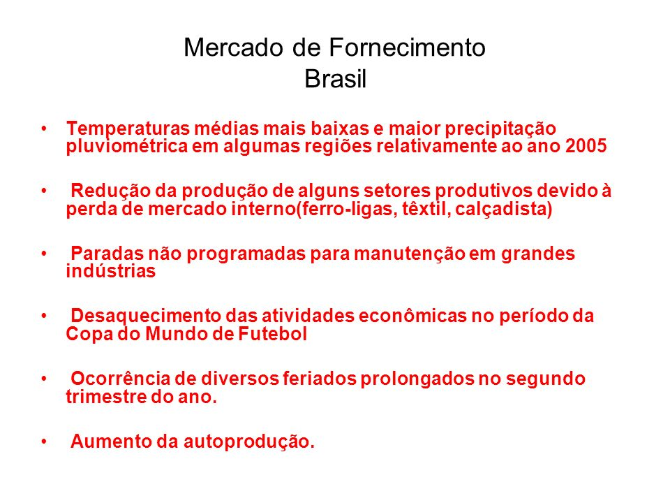 Mercado de Fornecimento Brasil
