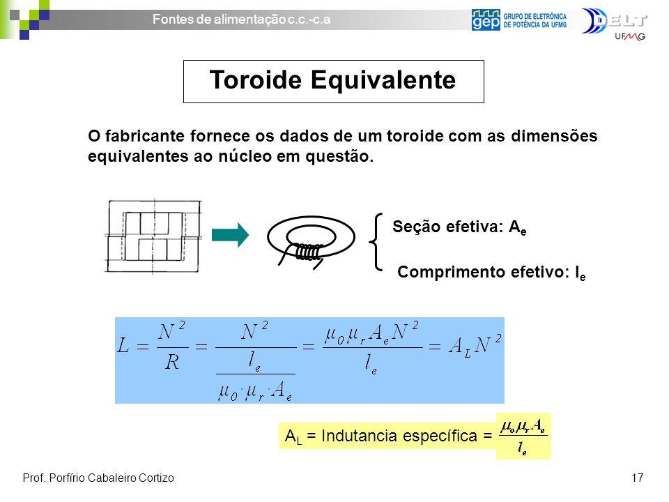 Toroide Equivalente O fabricante fornece os dados de um toroide com as dimensões equivalentes ao núcleo em questão.