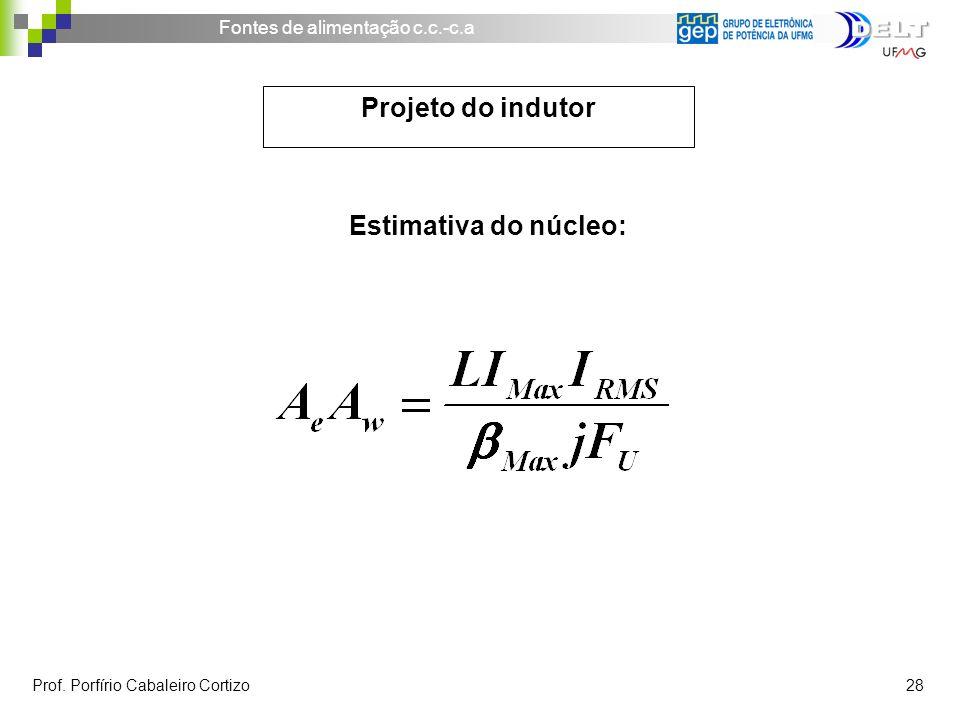 Projeto do indutor Estimativa do núcleo: