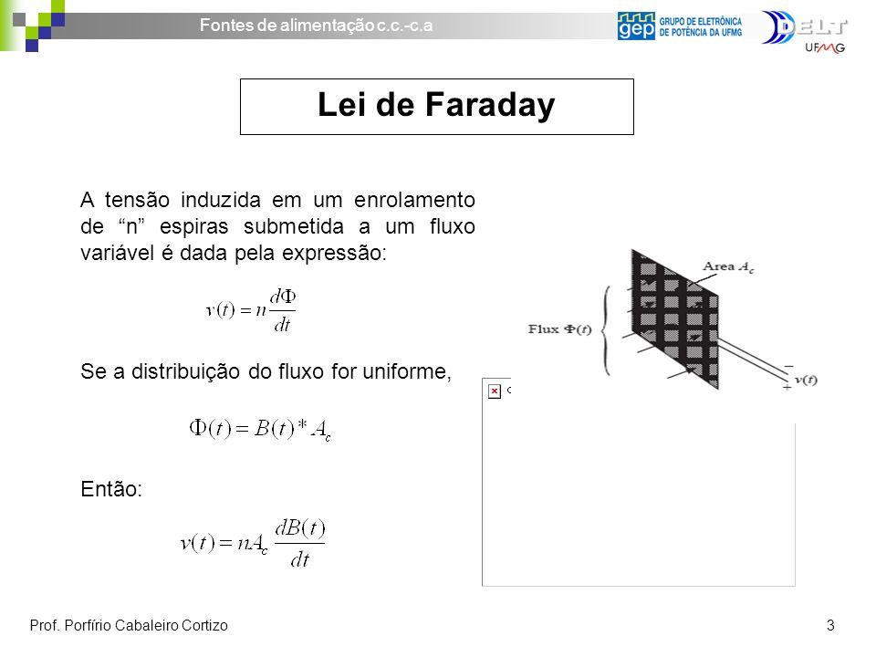 Lei de Faraday A tensão induzida em um enrolamento de n espiras submetida a um fluxo variável é dada pela expressão: