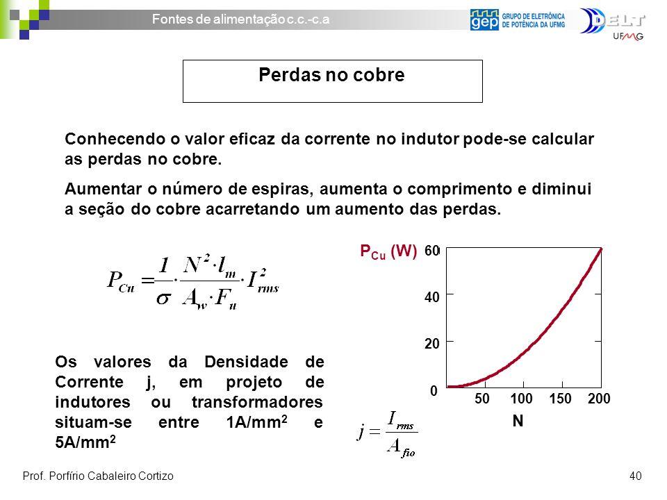 Perdas no cobre Conhecendo o valor eficaz da corrente no indutor pode-se calcular as perdas no cobre.