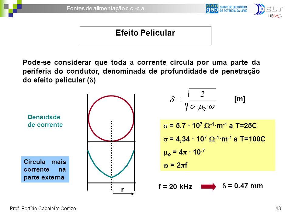 Pode-se considerar que toda a corrente circula por uma parte da periferia do condutor, denominada de profundidade de penetração do efeito pelicular (d)