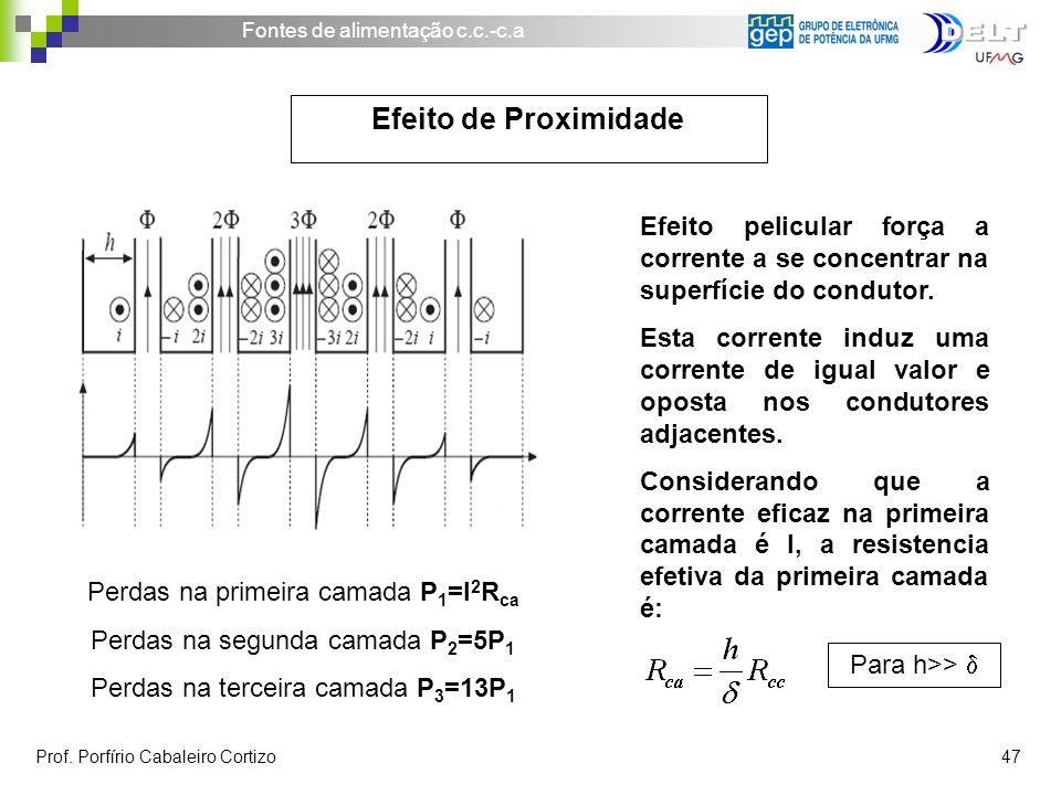 Efeito de Proximidade Efeito pelicular força a corrente a se concentrar na superfície do condutor.