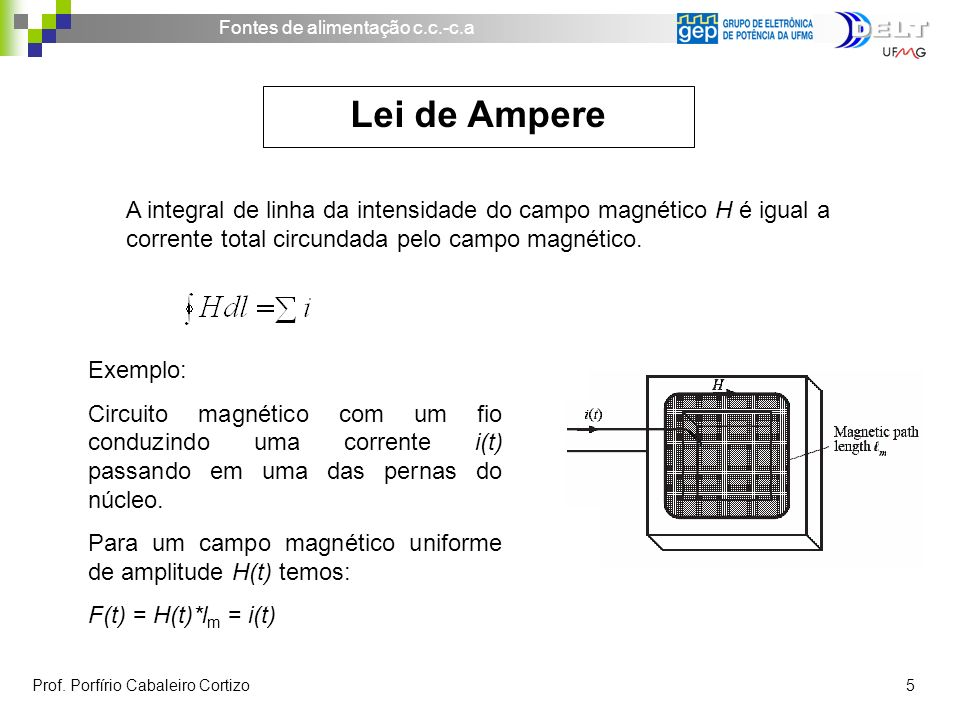 A integral de linha da intensidade do campo magnético H é igual a corrente total circundada pelo campo magnético.