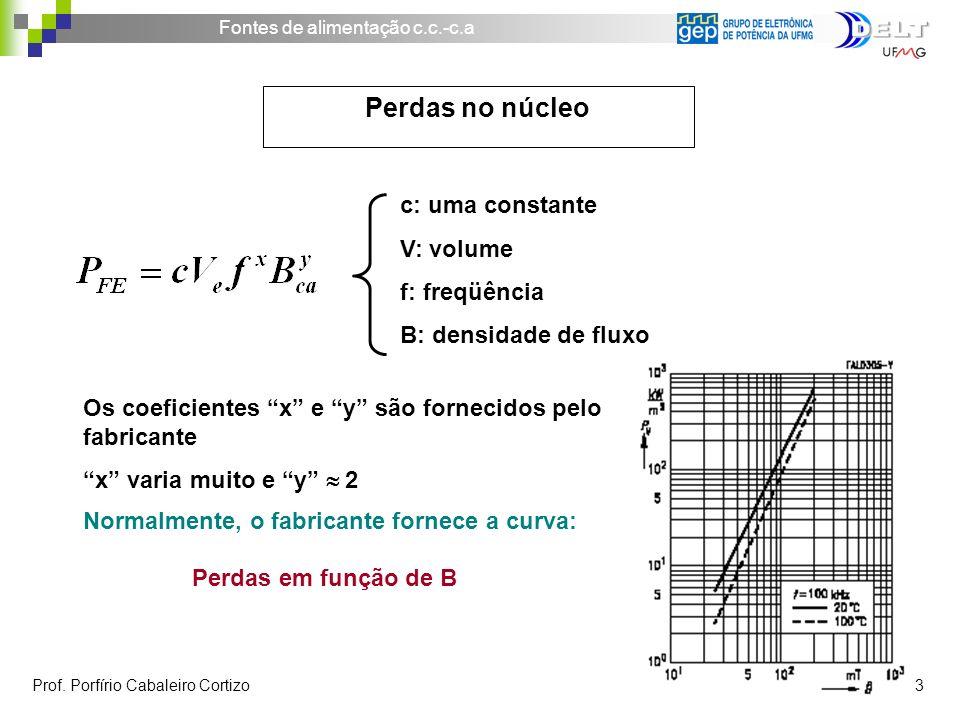 Perdas no núcleo c: uma constante V: volume f: freqüência