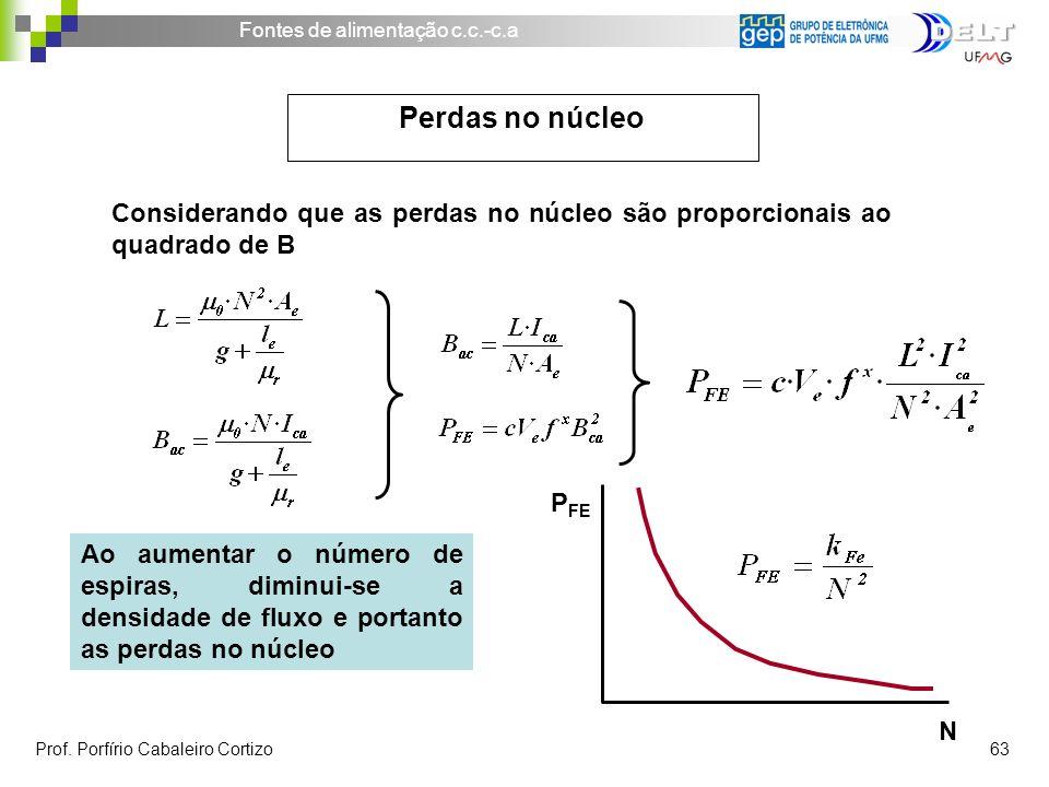 Perdas no núcleo Considerando que as perdas no núcleo são proporcionais ao quadrado de B. N. PFE.