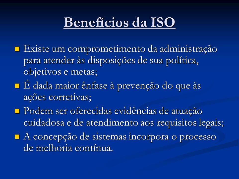 Benefícios da ISO Existe um comprometimento da administração para atender às disposições de sua política, objetivos e metas;