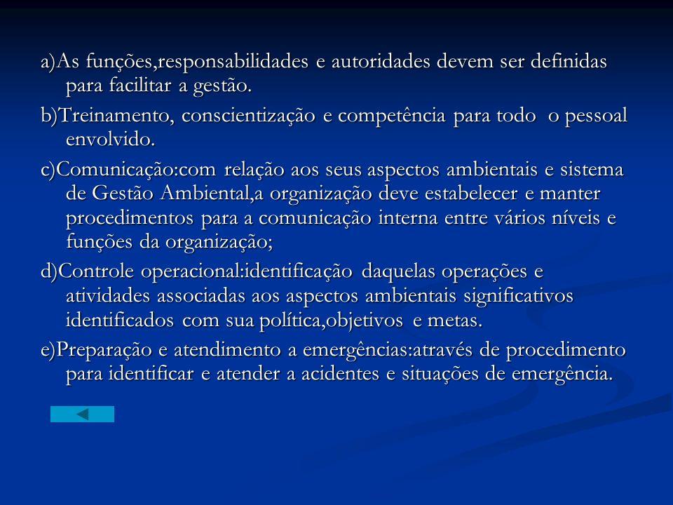 a)As funções,responsabilidades e autoridades devem ser definidas para facilitar a gestão.