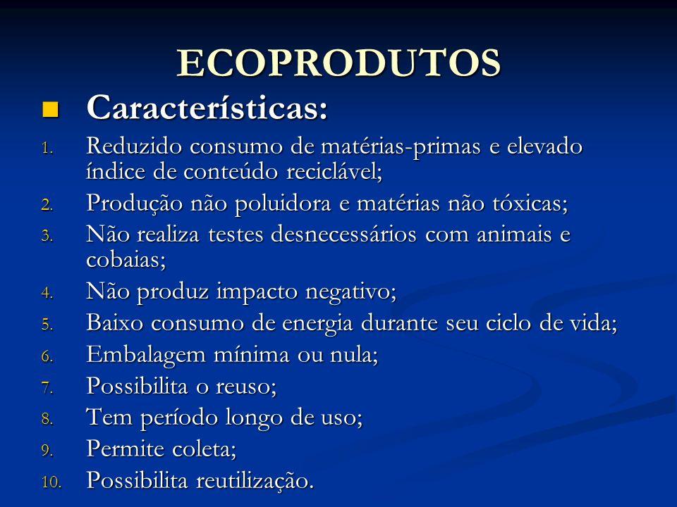 ECOPRODUTOS Características: