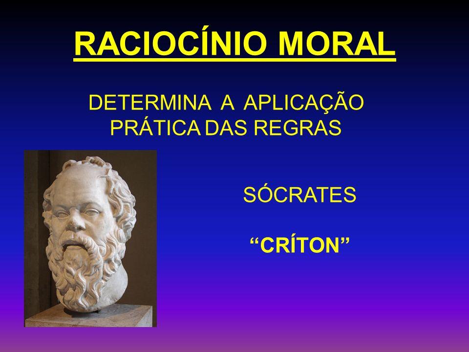 RACIOCÍNIO MORAL DETERMINA A APLICAÇÃO PRÁTICA DAS REGRAS SÓCRATES