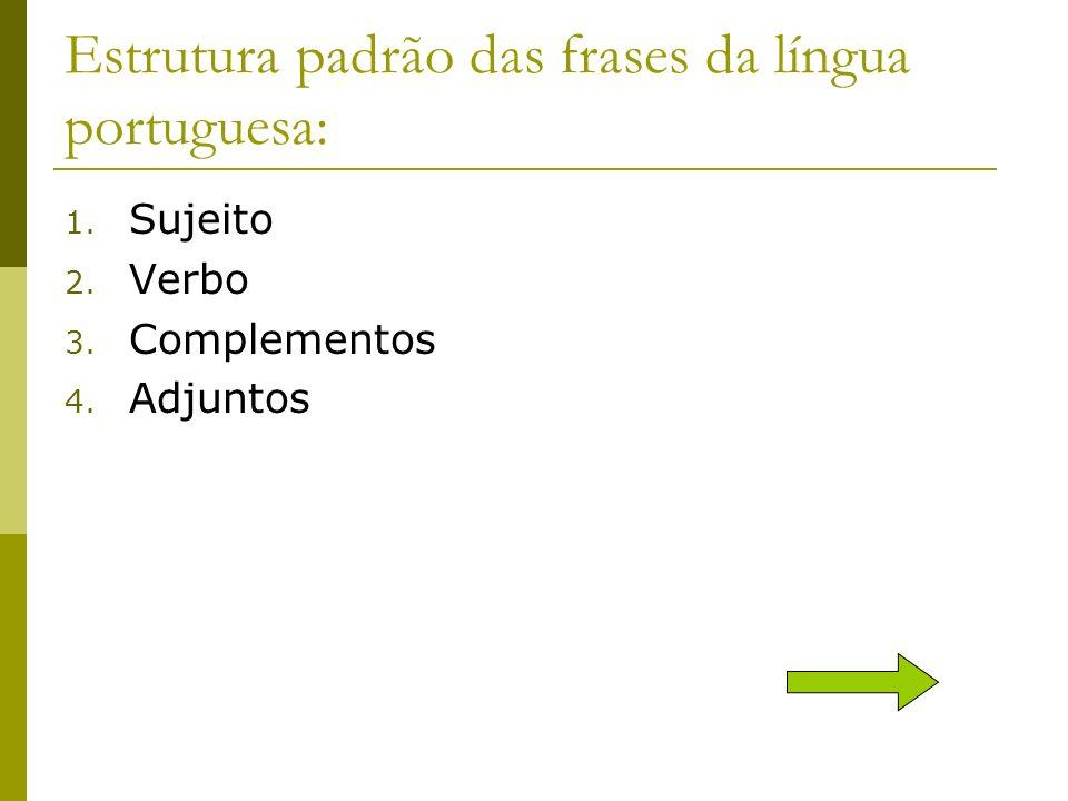 Estrutura padrão das frases da língua portuguesa: