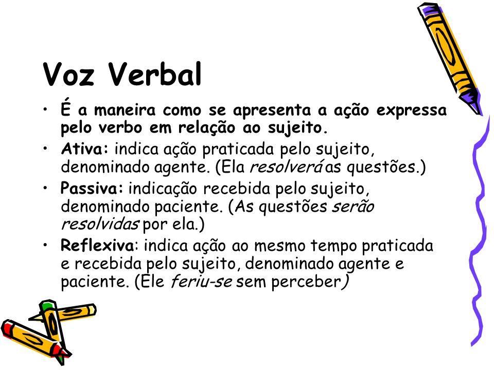 Voz Verbal É a maneira como se apresenta a ação expressa pelo verbo em relação ao sujeito.