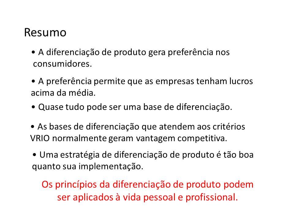 Resumo Os princípios da diferenciação de produto podem