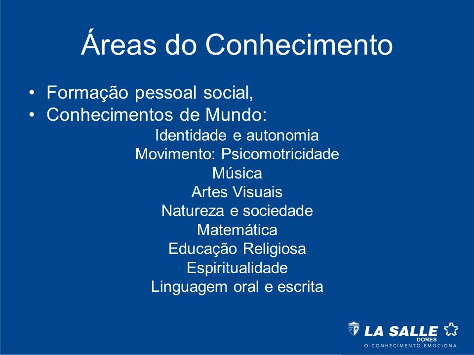 Áreas do Conhecimento Formação pessoal social, Conhecimentos de Mundo: