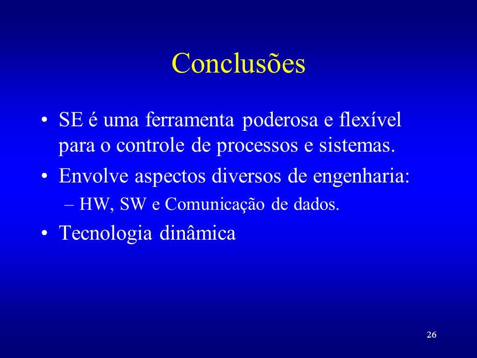 Conclusões SE é uma ferramenta poderosa e flexível para o controle de processos e sistemas. Envolve aspectos diversos de engenharia: