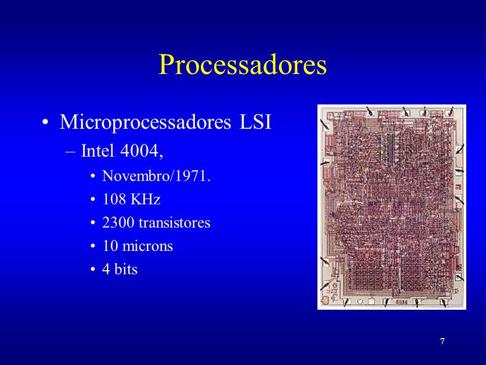 Processadores Microprocessadores LSI Intel 4004, Novembro/1971.