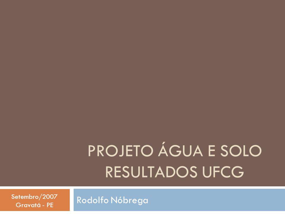 Projeto ÁGUA e solo Resultados UFCG