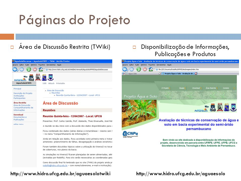 Páginas do Projeto Área de Discussão Restrita (TWiki)