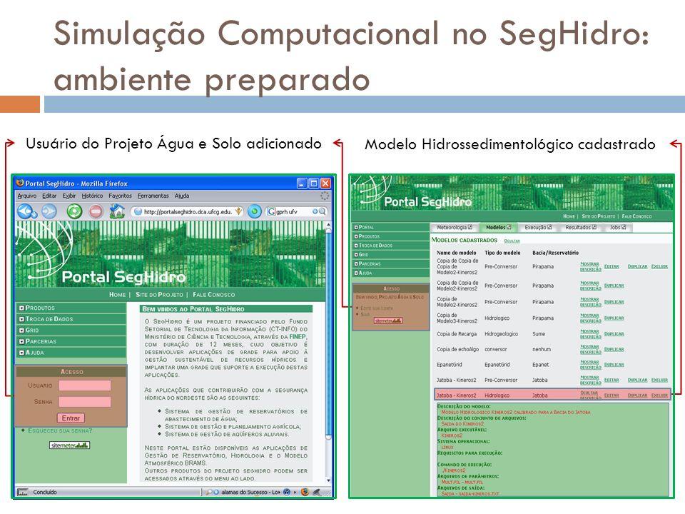 Simulação Computacional no SegHidro: ambiente preparado