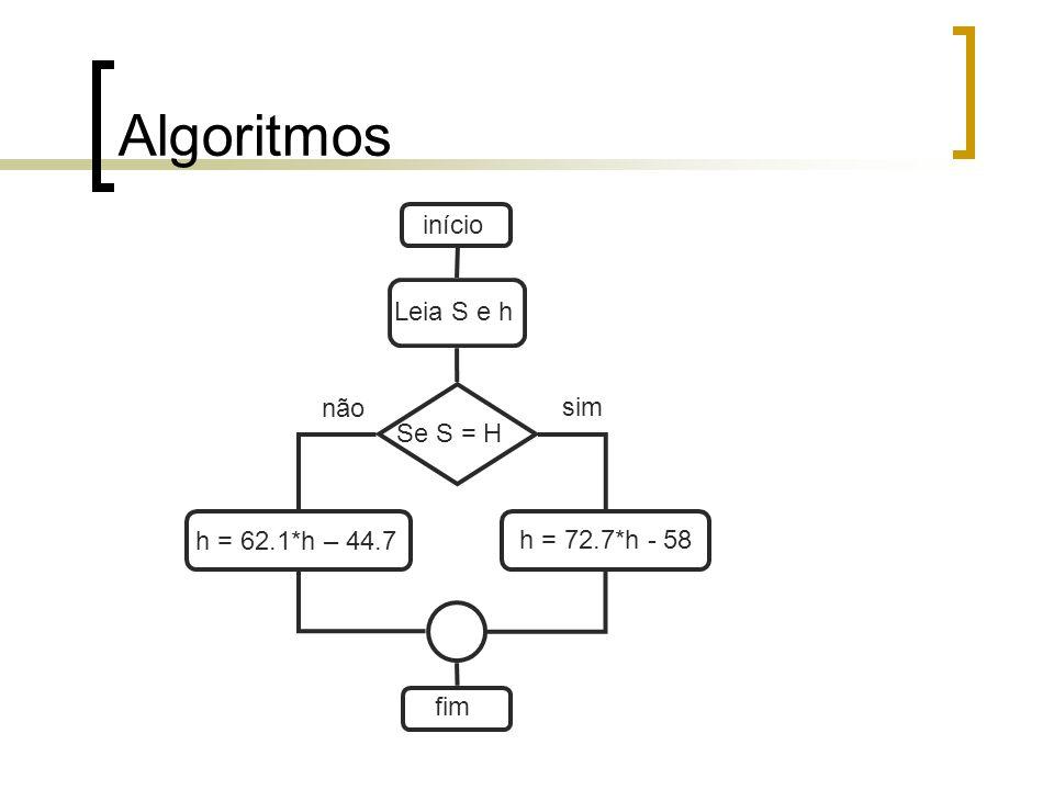 Algoritmos início Leia S e h não sim Se S = H h = 62.1*h – 44.7