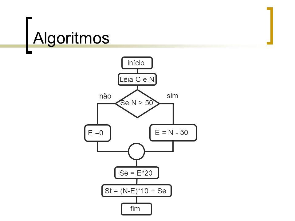 Algoritmos início Leia C e N não sim Se N > 50 E =0 E = N - 50