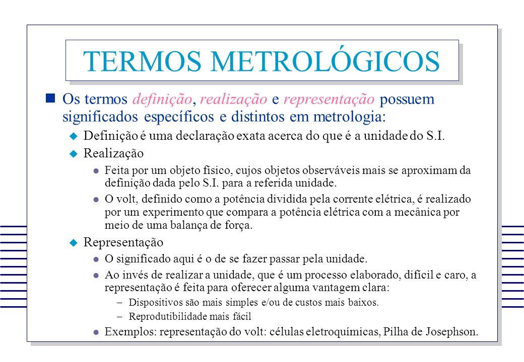 TERMOS METROLÓGICOS Os termos definição, realização e representação possuem significados específicos e distintos em metrologia: