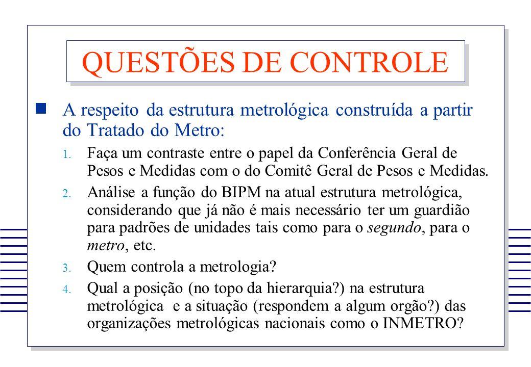 QUESTÕES DE CONTROLE A respeito da estrutura metrológica construída a partir do Tratado do Metro: