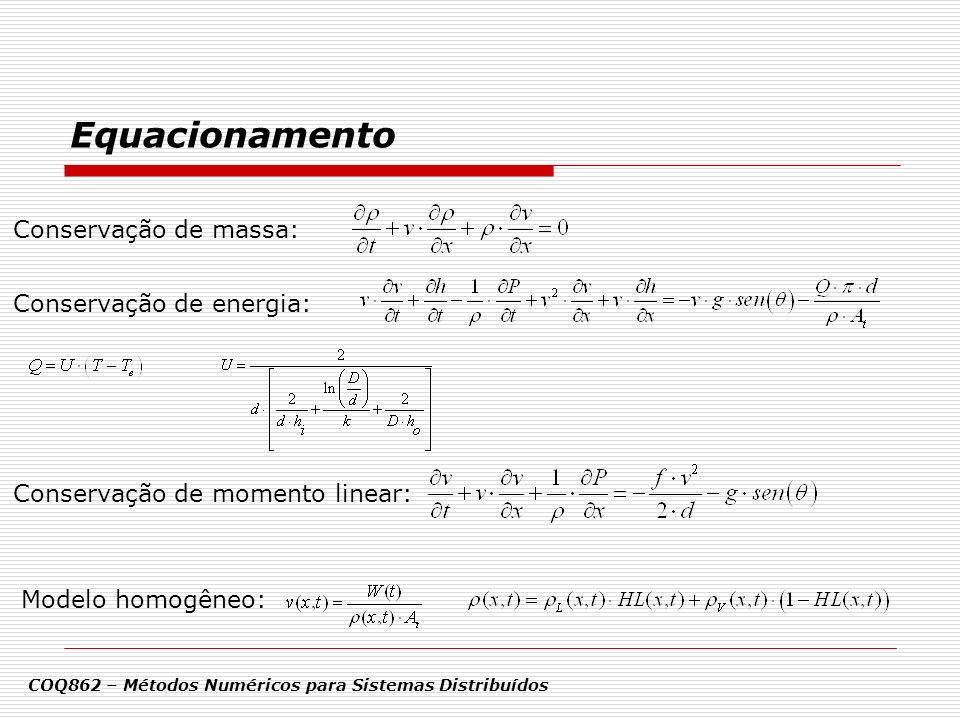 Equacionamento Conservação de massa: Conservação de energia: