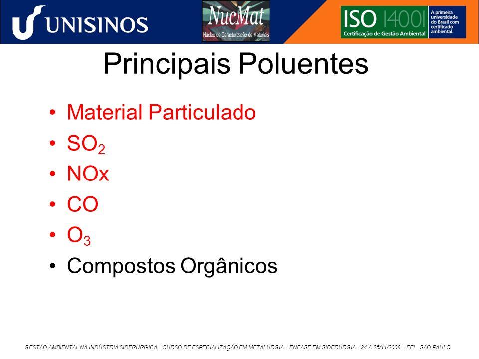 Principais Poluentes Material Particulado SO2 NOx CO O3