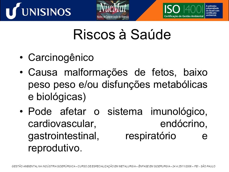 Riscos à Saúde Carcinogênico