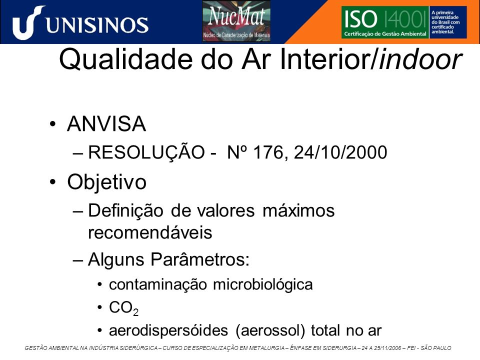 Qualidade do Ar Interior/indoor