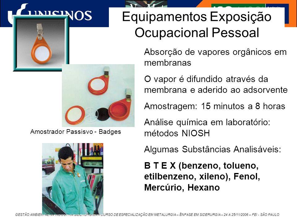 Equipamentos Exposição Ocupacional Pessoal
