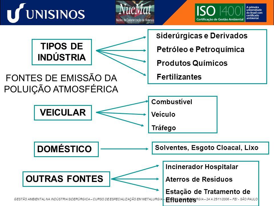 FONTES DE EMISSÃO DA POLUIÇÃO ATMOSFÉRICA