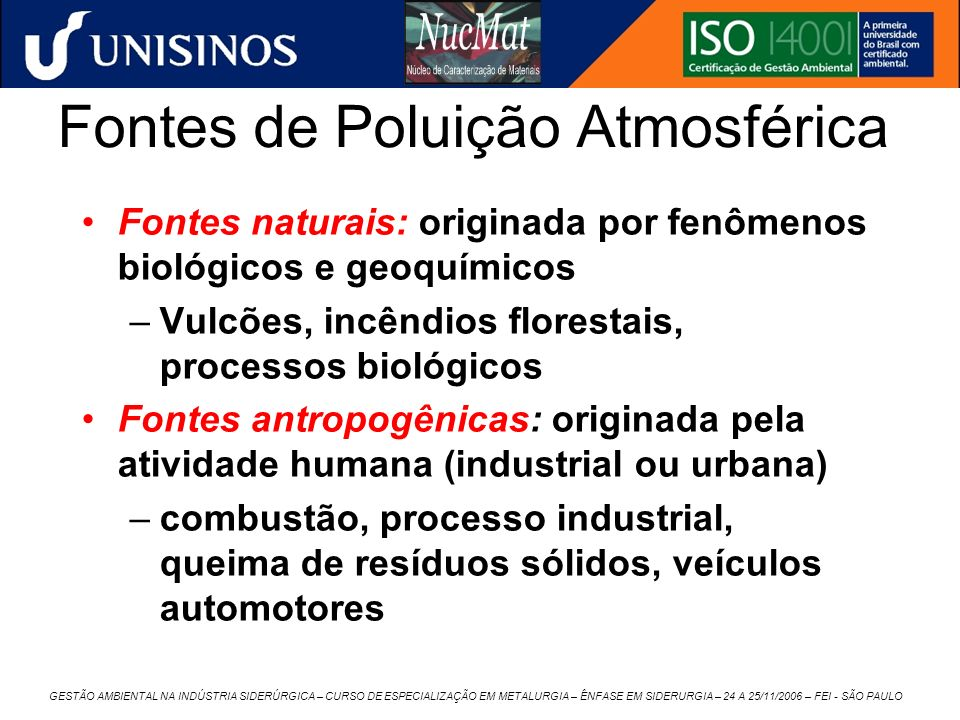 Fontes de Poluição Atmosférica